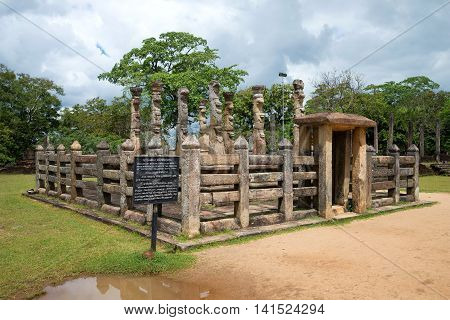 POLLONARUWA, SRI LANKA - MARCH 15, 2015: The ancient Buddhist pavilion of Lata Mandapa in the archaeological Park Polonnaruwa. Historical landmark of the Sri Lanka
