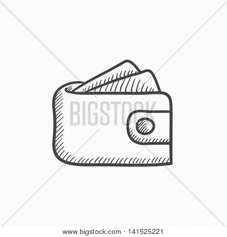 Wallet with money vector sketch icon isolated on background. Hand drawn Wallet with money icon. Wallet with money sketch icon for infographic, website or app.