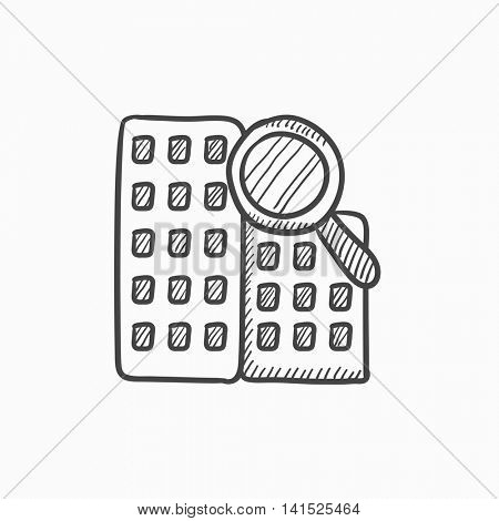 Condominium and magnifying glass vector sketch icon isolated on background. Hand drawn Condominium and magnifying glass icon. Condominium and magnifier sketch icon for infographic, website or app.
