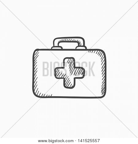 First aid kit vector sketch icon isolated on background. Hand drawn First aid kit icon. First aid kit sketch icon for infographic, website or app.