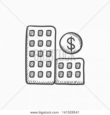 Condominium with dollar symbol vector sketch icon isolated on background. Hand drawn Condominium with dollar symbol icon. Condominium with dollar symbol sketch icon for infographic, website or app.