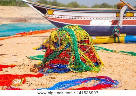 Fishing Boat Net On The Ocean Coast Of Sri Lanka