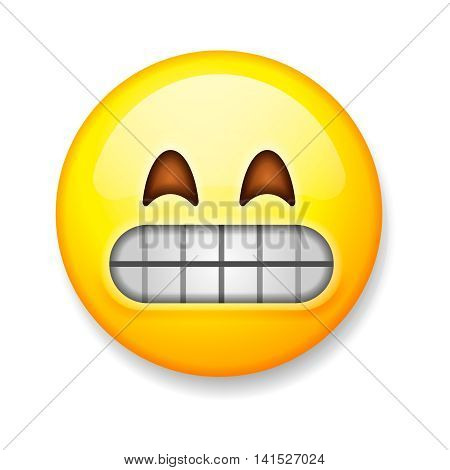Emoji isolated on white background, emoticon grimacing face, vector illustration.