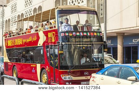 DUBAI UAE - JANUARY 23: Big Bus excursion Dubai The Day Tour is a hop-on hop-off sightseeing tour of Dubai with a personal recorded commentary available in 12 languages. Dubai UAE circa January 2016