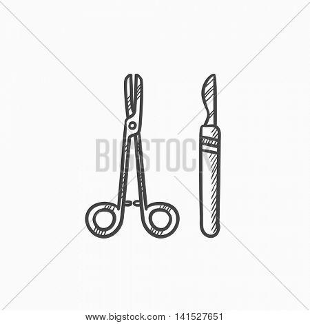 Surgical instruments vector sketch icon isolated on background. Hand drawn Surgical instruments icon. Surgical instruments sketch icon for infographic, website or app.
