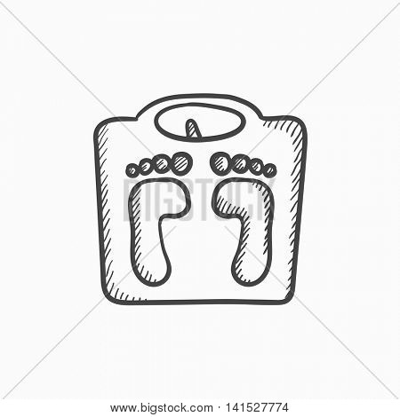 Weighing scale vector sketch icon isolated on background. Hand drawn Weighing scale icon. Weighing scale sketch icon for infographic, website or app.