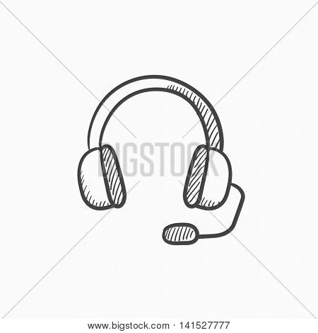 Headphone with microphone vector sketch icon isolated on background. Hand drawn Headphone with microphone icon. Headphone with microphone sketch icon for infographic, website or app.