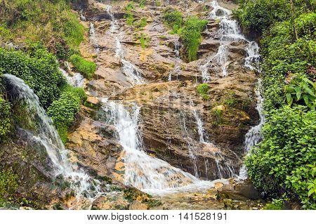 Tropical Waterfall Tien Sa Falls In Sapa Vietnam
