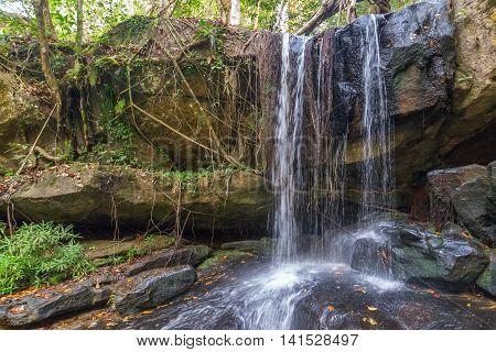 Waterfall In The Rain Forest, Phnom Kulen National Park