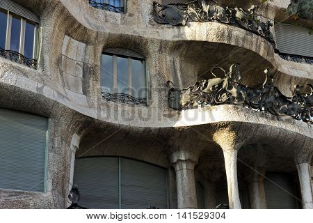 BARCELONA SPAIN - AUGUST 24: Modernism style architecture. Casa Mila aka La Pedrera (Catalan for 'The Quarry') on August 24 2012. This house was built during 1906 - 1910.
