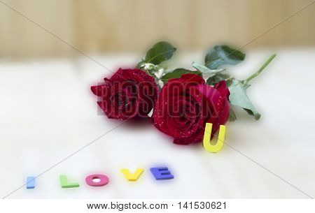Red roses flowers and the word