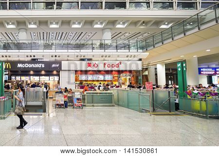 HONG KONG - CIRCA DECEMBER, 2014: inside of Hong Kong International Airport. Hong Kong International Airport is the main airport in Hong Kong.