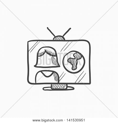 TV report vector sketch icon isolated on background. Hand drawn TV report icon. TV report sketch icon for infographic, website or app.