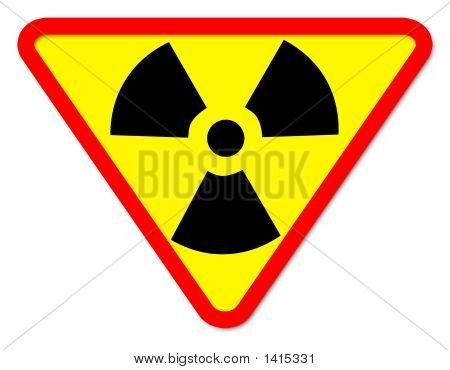 A new sign that shows the danger of nuclear and radioactive materials. poster