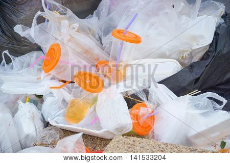 A pile of garbage / waste and garbage mismanagement concept