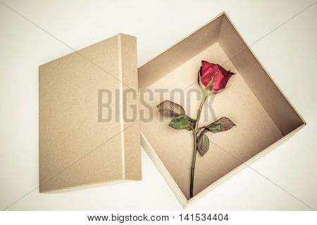 A box of red rose / Surprised love concept