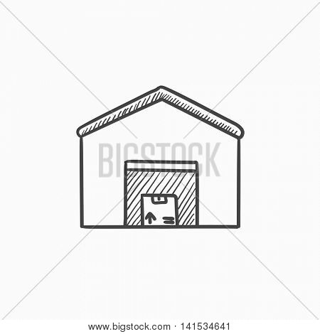 Warehouse vector sketch icon isolated on background. Hand drawn Warehouse icon. Warehouse sketch icon for infographic, website or app.