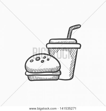 Fast food meal vector sketch icon isolated on background. Hand drawn Fast food meal icon. Fast food meal sketch icon for infographic, website or app.