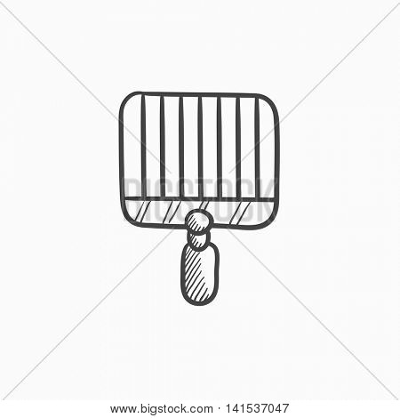 Empty barbecue grill grate vector sketch icon isolated on background. Hand drawn Empty barbecue grill grate icon. Empty barbecue grill grate sketch icon for infographic, website or app.