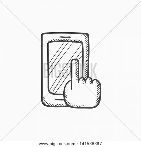 Finger pointing at smart phone vector sketch icon isolated on background. Hand drawn Finger pointing at smart phone icon. Finger pointing at smart phone sketch icon for infographic, website or app.