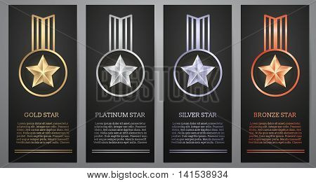 Set of  black banners, Gold , Platinum ,Silver and Bronze stars, Vector illustration.