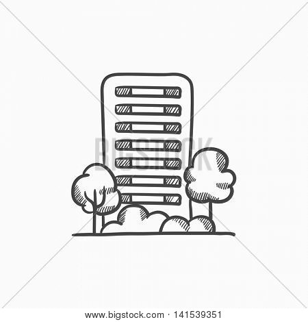 Residential building with trees vector sketch icon isolated on background. Hand drawn Residential building with trees icon. Residential building with trees sketch icon for infographic, website or app.