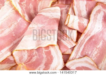 Assorted Slices Of Fat Pink Bacon
