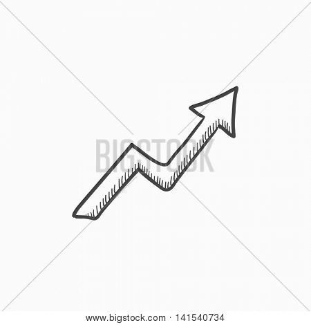 Arrow upward  vector sketch icon isolated on background. Hand drawn Arrow upward  icon. Arrow upward  sketch icon for infographic, website or app.