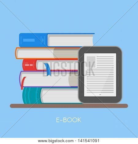 Electronic book concept vector illustration in flat style. Stack of books and e-book reader.