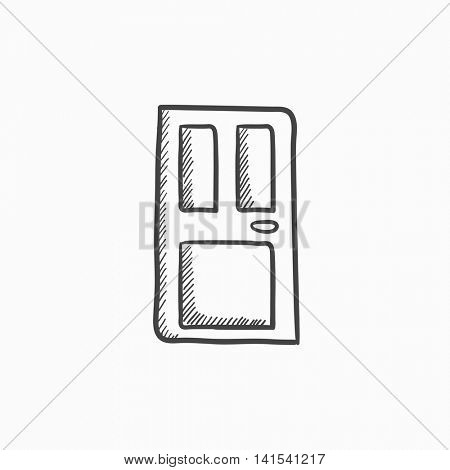 Front door vector sketch icon isolated on background. Hand drawn Front door icon. Front door sketch icon for infographic, website or app.