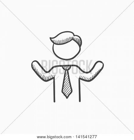 Man with raised arms vector sketch icon isolated on background. Hand drawn Man with raised arms icon. Man with raised arms sketch icon for infographic, website or app.