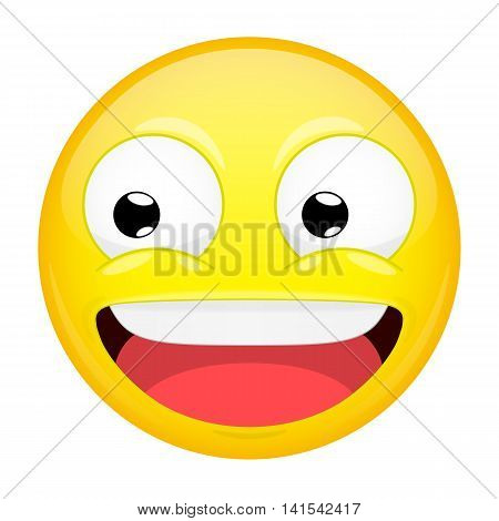 Smiling emoji. Laugh emotion. Sweet happy emoticon. Vector illustration smile icon.