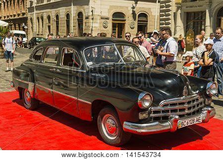Lviv Ukraine - June 12 2015:Old retro car GAZ - 12 ZIM exhibited for participation in festival Leopolis grand prix 2015 Ukraine.
