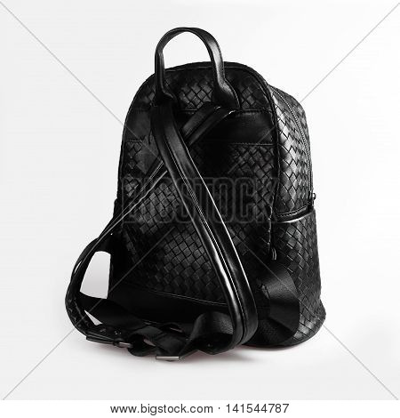 stylish black backpack on a white background