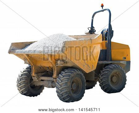 Forward tipping dumper truck with dents and scratches from use on a construction site on an isolated white background with a clipping path