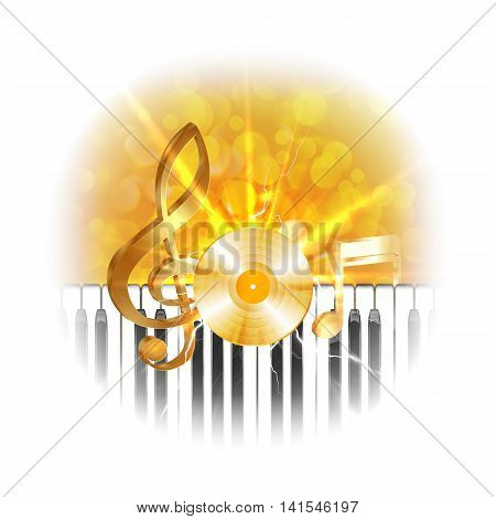 Golden musical vinyl plate with treble clef and piano keys flash on background. The image is made without Borders in bleached edges can be used with any image or text on a white background.