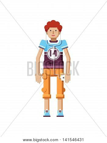 Stock vector illustration isolated of European redhead man with freckles in short orange pants, man with smartphone in hand, man listen music from phone, T-shirt in flat style on white background