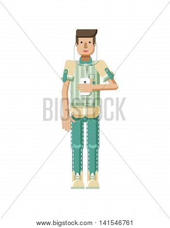 Stock vector illustration isolated of European man with light brown hair, man with smartphone in hand, man listen music from phone, striped shirt in flat style on white background