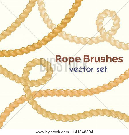 Vector rope brushes set. Decorative knots. Nautical ropes in cartoon style. Rope swirls collection.
