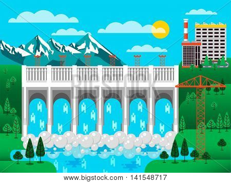 Stock vector illustration of water dam among green hills, water pressure, causeway, barrage bridge, office buildings to control dam, mountains snow-capped peaks, crane metal structures blue background
