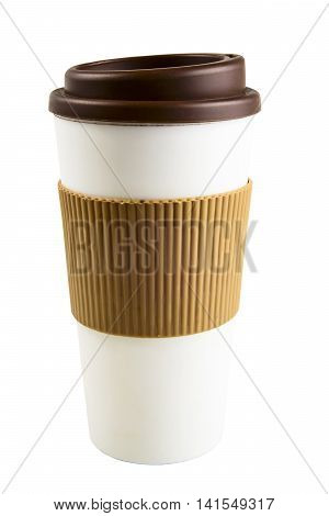 Take-out coffee cup with cup holder on white isolated background