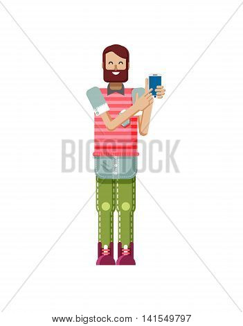 Stock vector illustration isolated of European hipster with dark brown hair and beard, man touch screen smartphone by hand, man shows screen of phone, striped T-shirt in flat style on white background