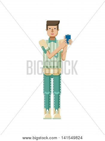 Stock vector illustration isolated of European man with light brown hair, man touch screen smartphone by hand, man shows screen of phone, striped shirt in flat style on white background