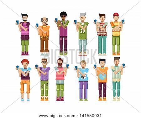 Stock vector illustration isolated set of men touch screen smartphone by hands, men show screen of phone, mens sportswear comfortable clothes in flat style on white background