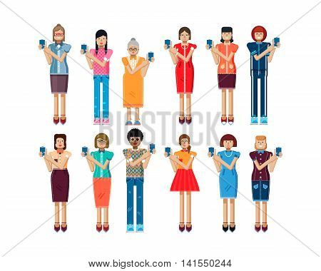 Stock vector illustration isolated set of European, African-American women touch screen smartphone in hands, women show screen of phone, touch screen, womens clothes in flat style on white background