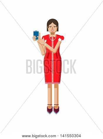 Stock vector illustration isolated of European woman with dark hair in red dress, high heels shoes, woman touch screen smartphone by hand, woman shows screen of phone in flat style on white background