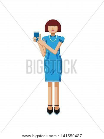 Stock vector illustration isolated of European middle-aged woman, brown hair, blue dress, touche screen, woman touch screen smartphone by hand, woman shows screen of phone flat style, white background