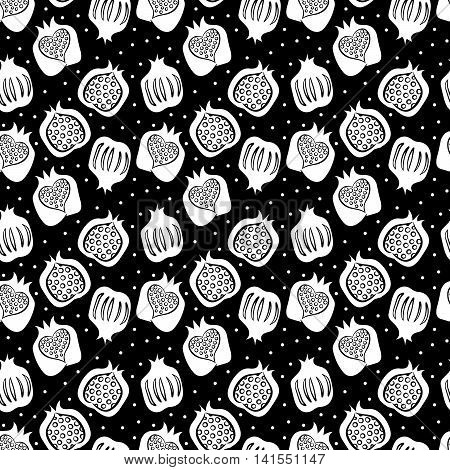 black seamless pattern with many white pomegranate . vector