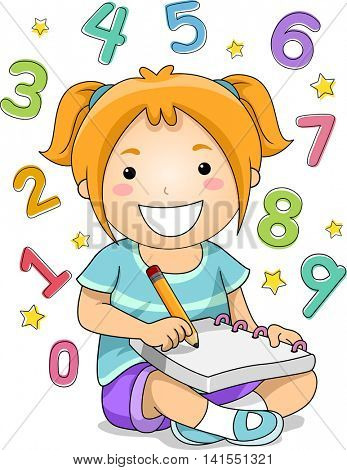 Illustration of a Little Girl Solving Mathematical Problems
