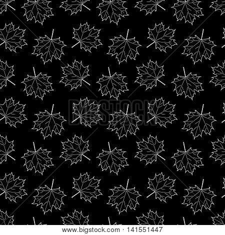 black seamless pattern with white Maple Leaf. vector